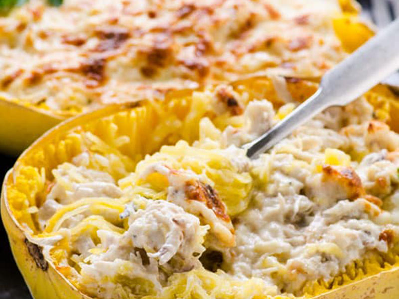 List of meals for dinner: Chicken Alfredo Spaghetti Squash Boats