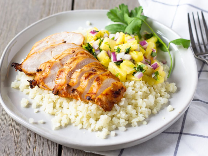 List of meals for dinner: Chipotle Chicken With Pineapple Salsa