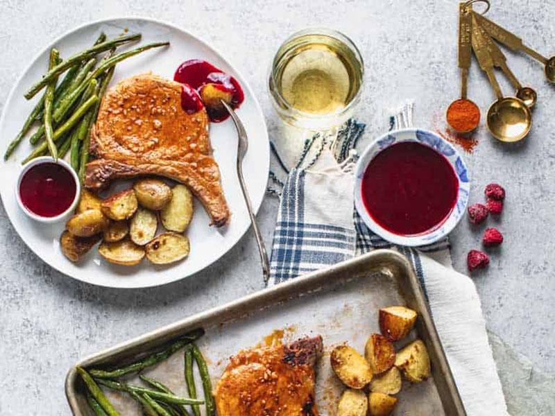 List of meals for dinner: Sheet Pan Pork Chops