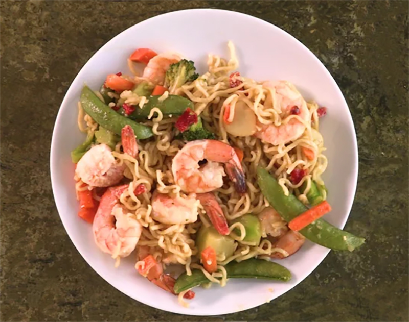Easy college meals: Shrimp and Ramen Stir-Fry