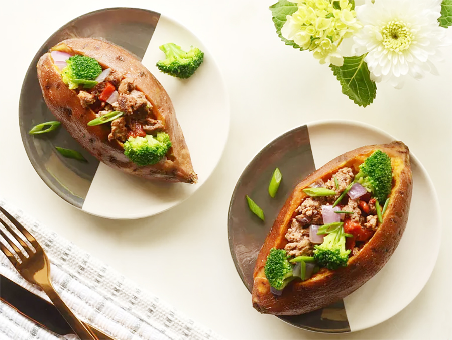 Easy college meals: Beef and Broccoli Stuffed Sweet Potatoes