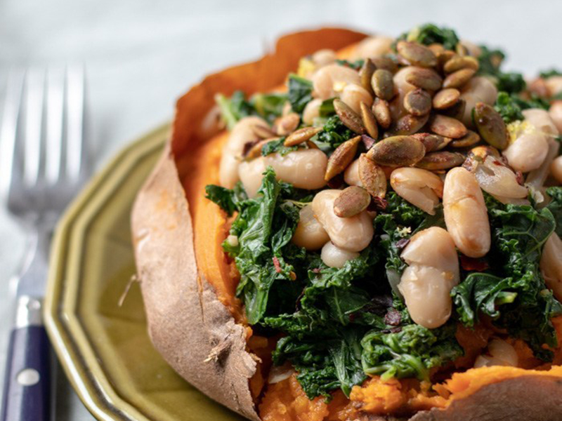 Easy meals for two on a budget: Sweet Potatoes With Lemony Kale and White Beans