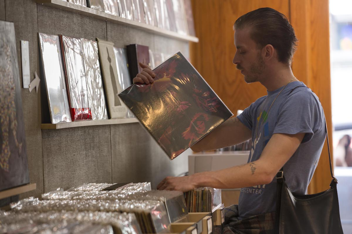 person buying records