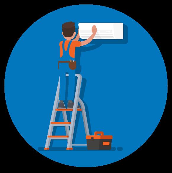 HVAC repairman illustration
