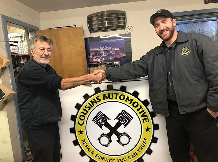 nathaniel cousins with butch of cousins automotive