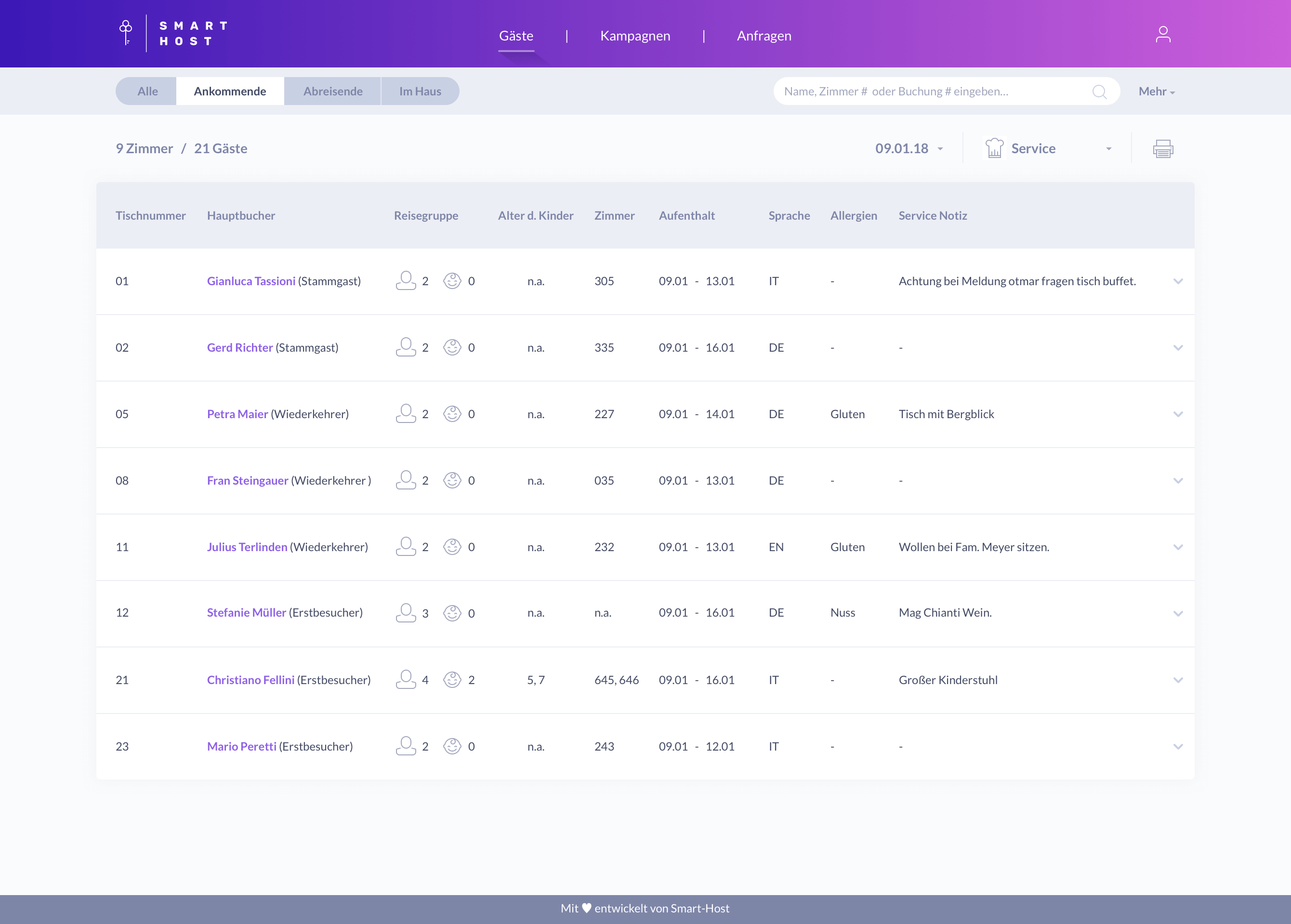 Guests Management screen