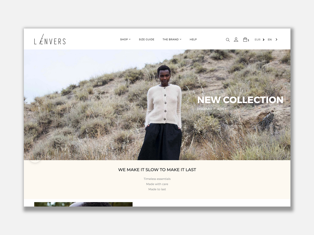 L'envers fashion homepage