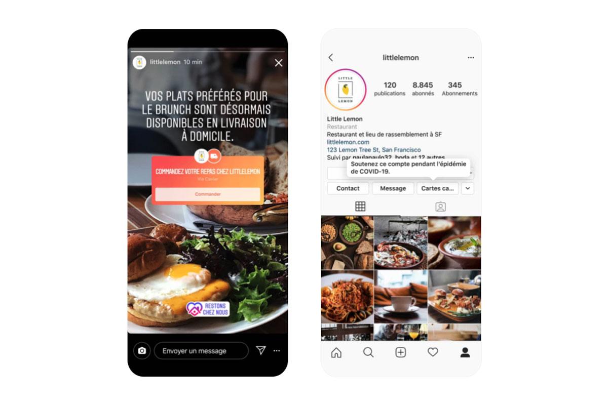 instagram stickers cartes cadeaux commande plats
