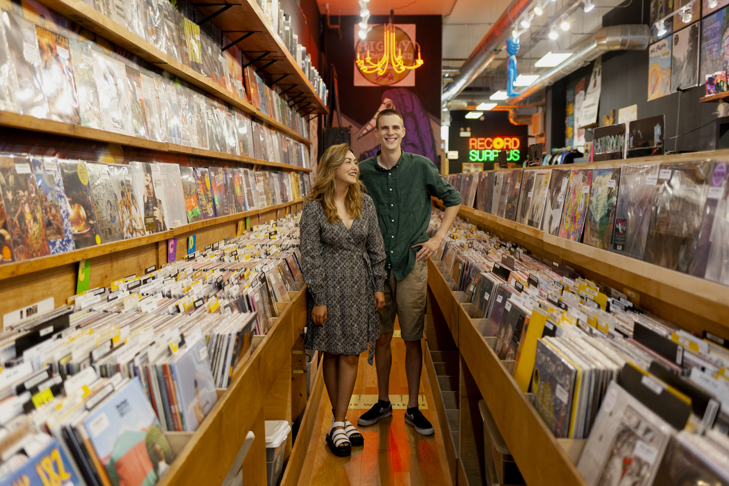 Record Store Engagement Session in Wicker Park, Chicago