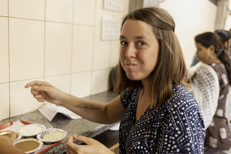 Bri eating food in India
