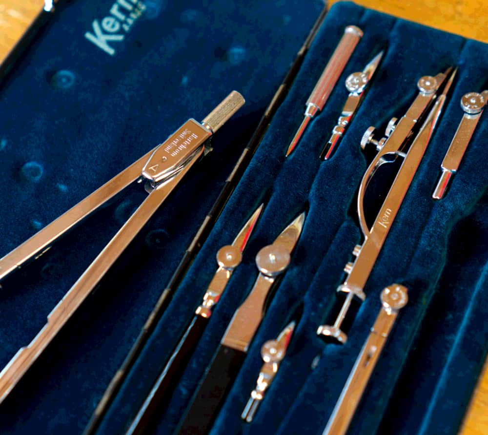 Kern drafting instruments in case