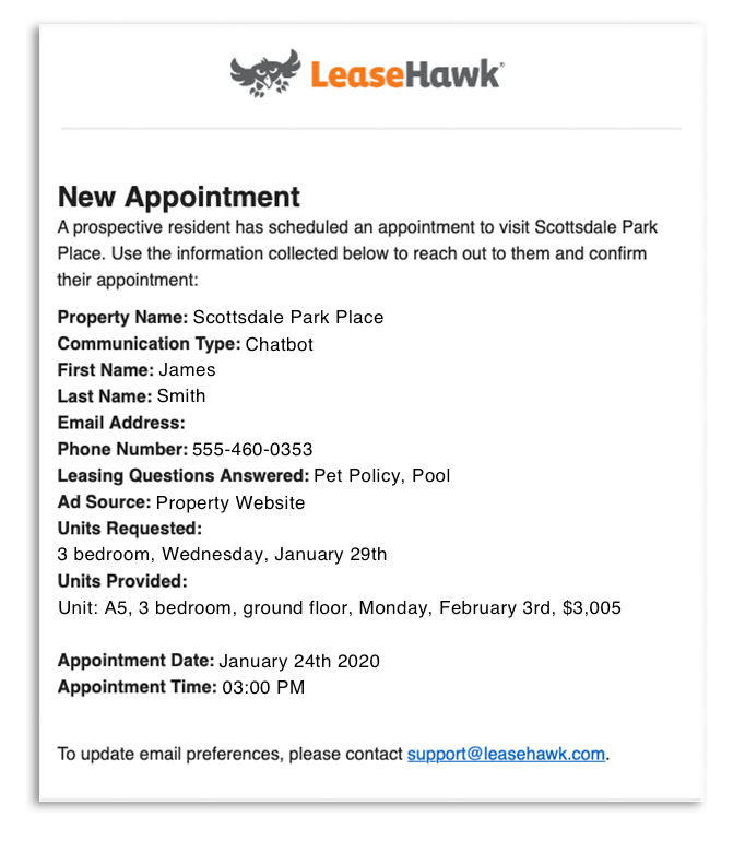 Appointment Email Notification
