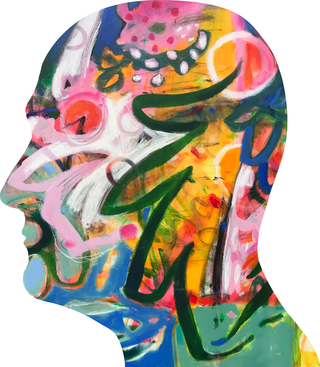 Silhouette of artist head with painting filled in