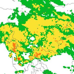 Radarový snímek Slovinska a Chorvatska