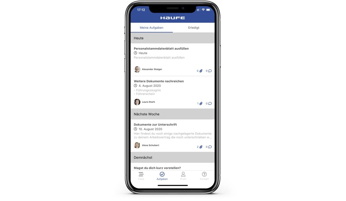 Haufe myOnboarding App - Digitaler EInarbeitungsplan