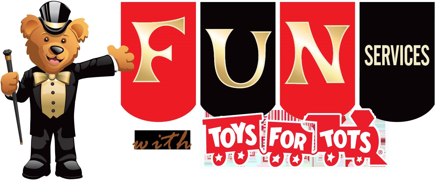fun services logo with bear in tuxedo