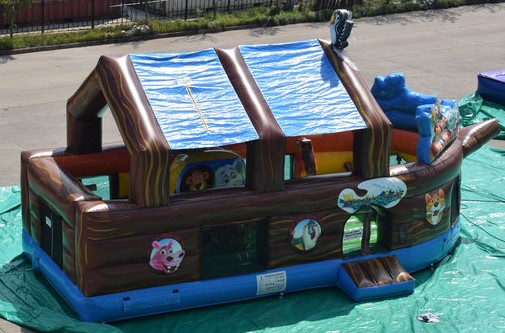 The Noah's Ark is 25' L x 12' W x 14' H. Very colorful and mostly covered to help keep the hot sun off the youngsters.