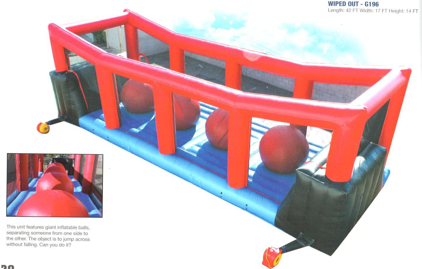 Kids and Adults alike will love competing on the Wiped Out. See if you can jump from Ball to Ball and get to the other side before wiping out. 45' l x 20' w x 17' h.