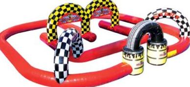 """Kids and Adults will be revved up for the Mega Rally™ inflatable race track, all the way to the checkered flag finish! Participants line up under the oversized inflatable """"START"""" arch, and ride adult sized tricycles through the inflatable play structure to the """"FINISH"""" arch for an easy and fun race time. (45' long x 45' wide x 11' tall)"""