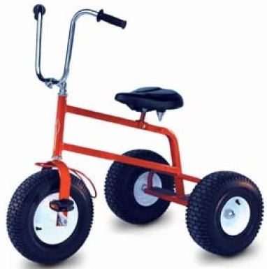 An adult size trike capable of holding up to 500 lbs. 3 Adult Trikes will be supplied for use with the Mega Rally Track. 45' l x 45' w x 11' h.