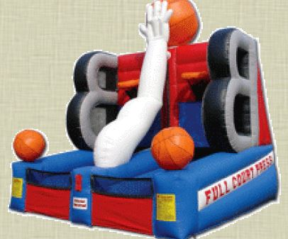 Players shoot at hoops and try to get all the basketballs on the other player's side. After a made hoop, the basketball comes out on the other side. 17' l x 16' w x 19' h.