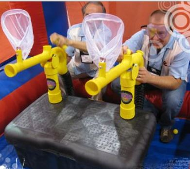 The Extreme Cannonball Blaster™ features participants shooting at target nets with SOFT, foam balls. Game is safe, and is loads of fun! (22' l x 10' w x 10' h)