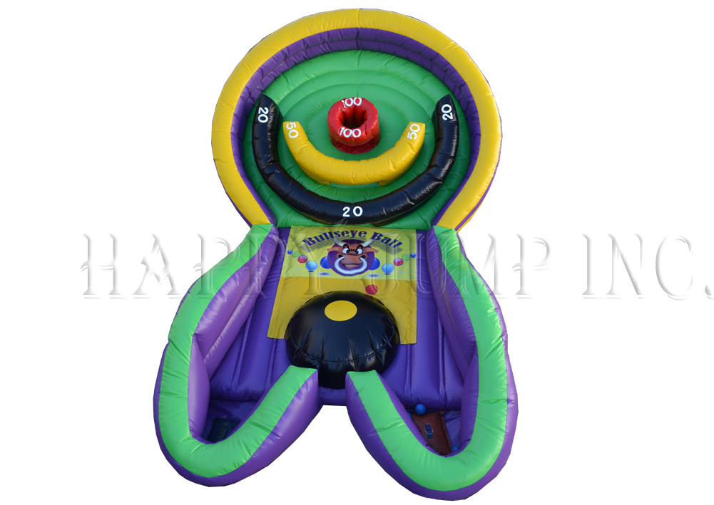 Played similar to ski ball. The object of the game is to collect as many points as possible by bouncing the balls up an incline and into the designated point holes. 17' l x 11' w x 10' h.