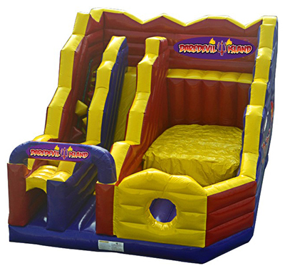 Choose to slide down the slide or jump onto the padded landing area. 27' x 22' x 18' (11' platform height).