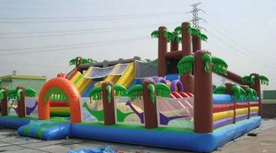 The Jurassic Fun City is jumbo size activity center. The inside includes 3 slides, small rock climb area and various other fun pop-ups. (26' l x 40' w x 18' h)