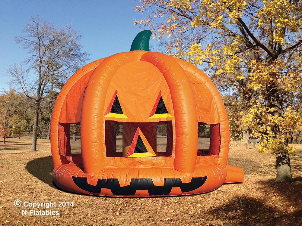The Pumpkin Moonbounce is great for Fall Parties. (24' l x 20' w x 18' h)