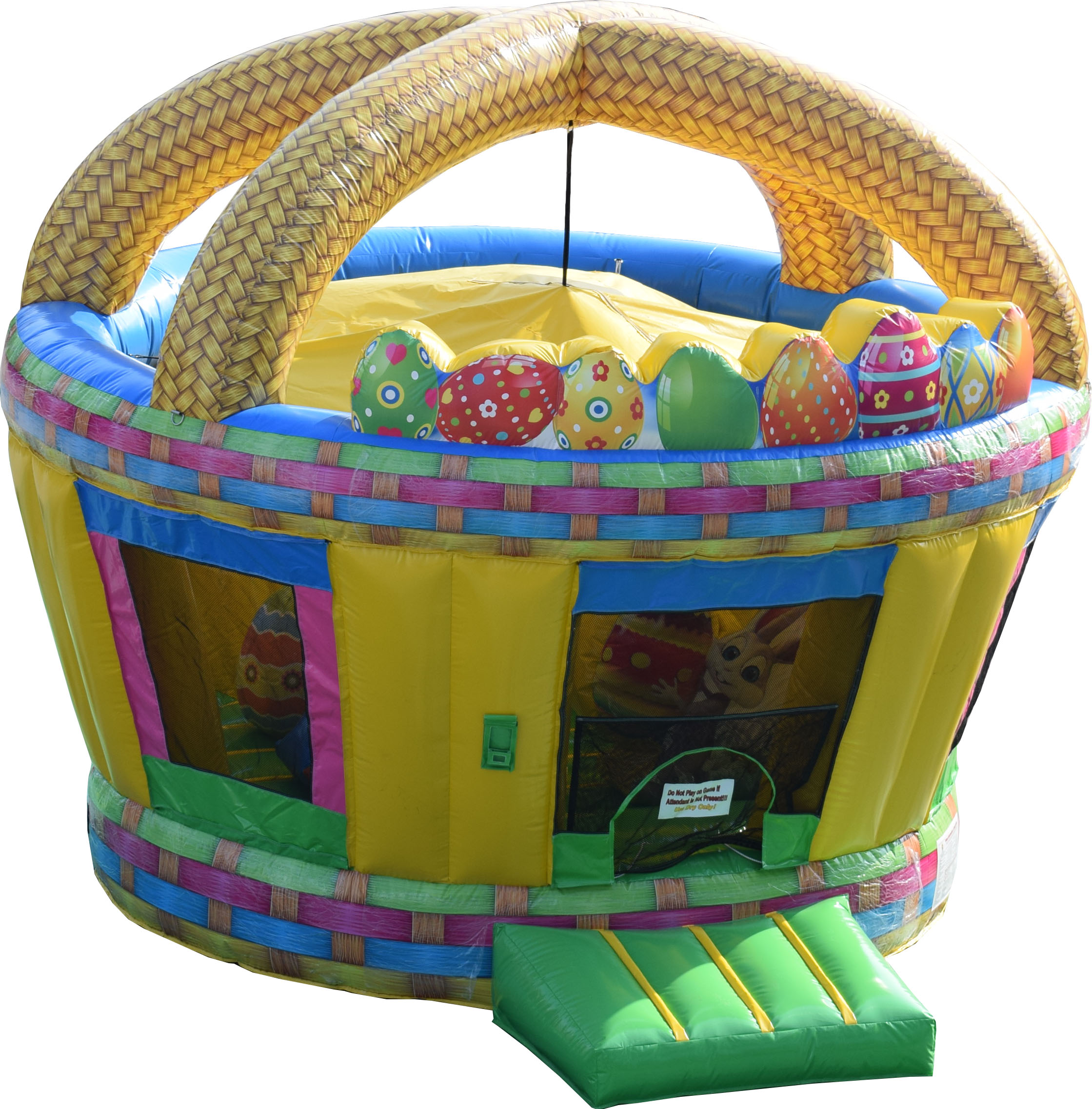This colorful Easter Moonbounce is 17' l x 14' w x 14' h.