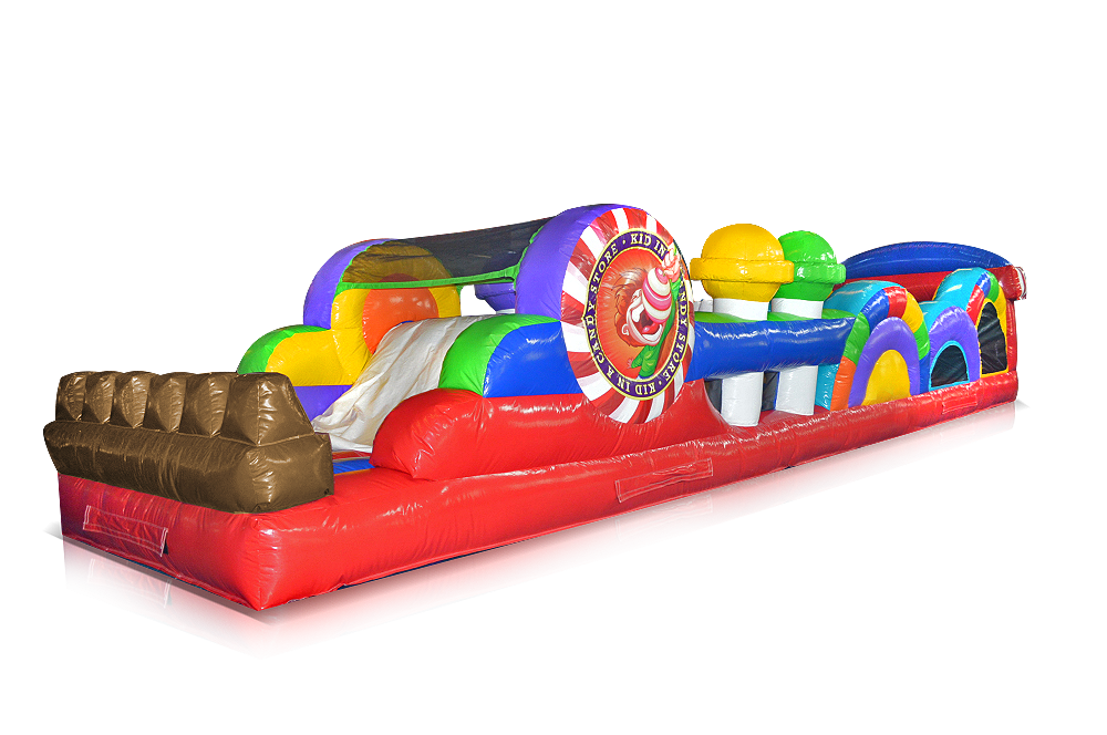 The Candy Store Obstacle Course captures the fun of running through a larger than life candy store surrounded by giant candy! Great for the younger age groups.40' l x 10' w x 8' h.