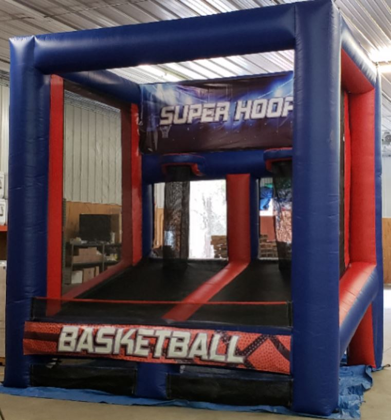 """Hoops 2 is a smaller version of the Full Court Press. Size is 10' x 10' and 7' 11"""" tall. Can fit under most ceilings for indoor use."""
