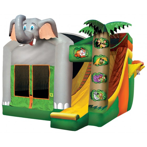 The Safari Combo includes a bouncing area and slide. 15' x 15' x 17'
