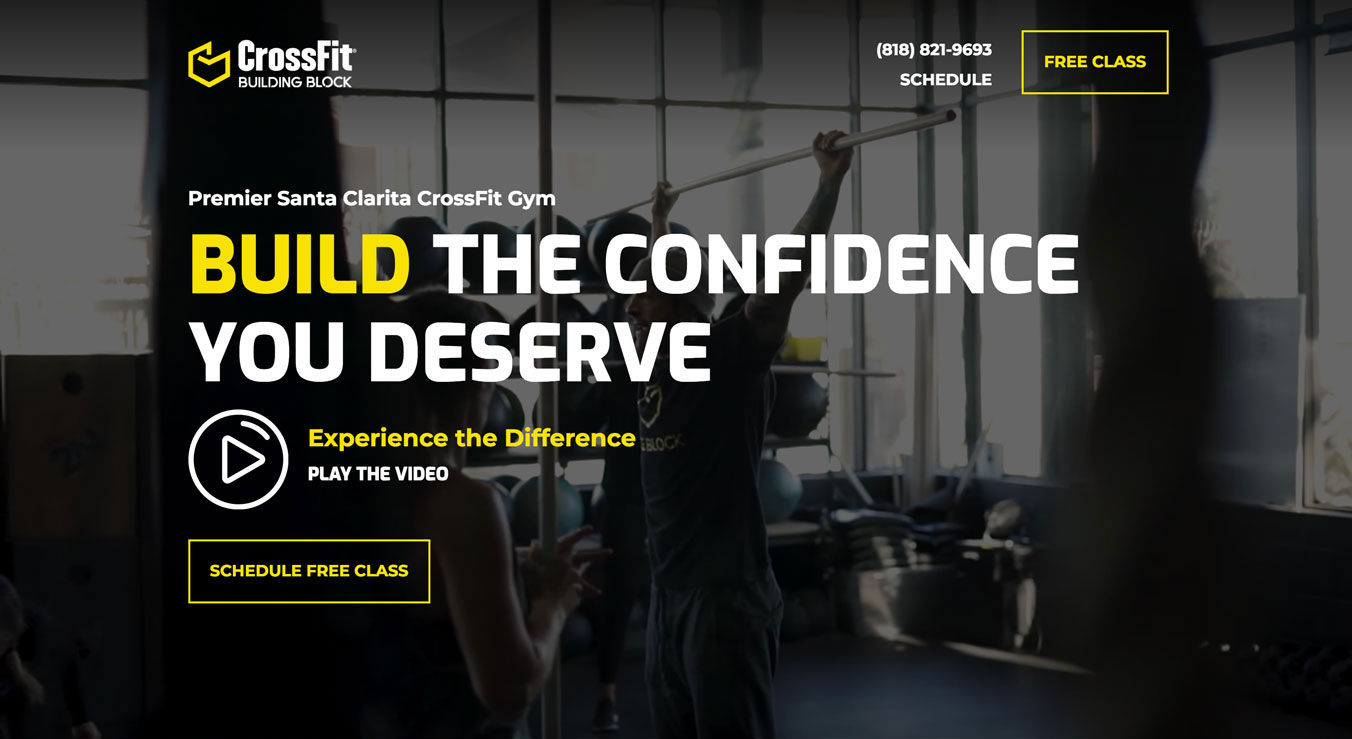 Screenshot of landing page from the CrossFit Building Block website redesign.