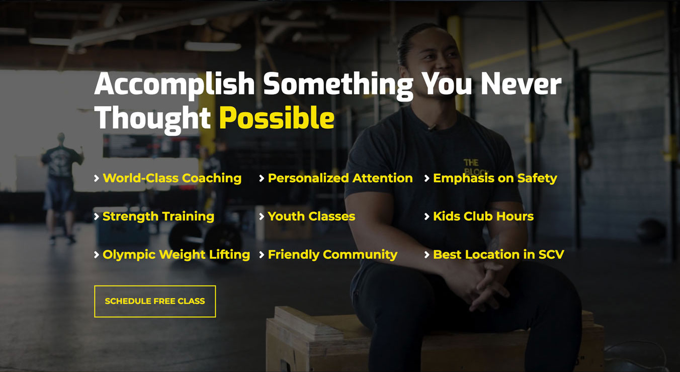 Screenshot of benefits from the CrossFit Building Block website redesign.