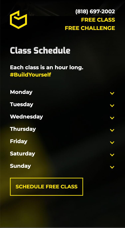 Screenshot of schedule from the CrossFit Building Block website redesign.