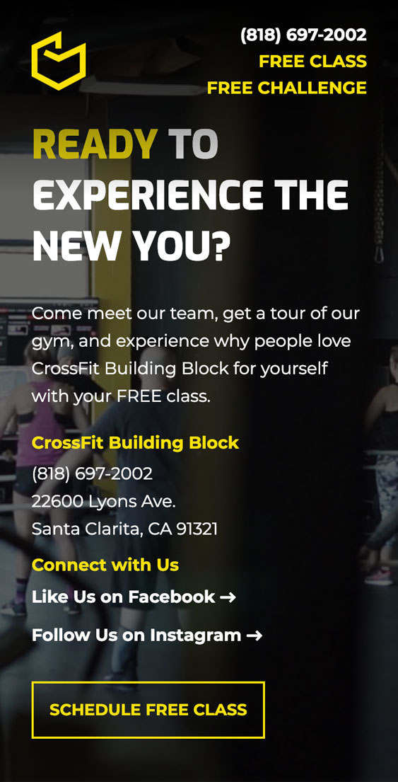 Screenshot of call-to-action from the CrossFit Building Block website redesign.