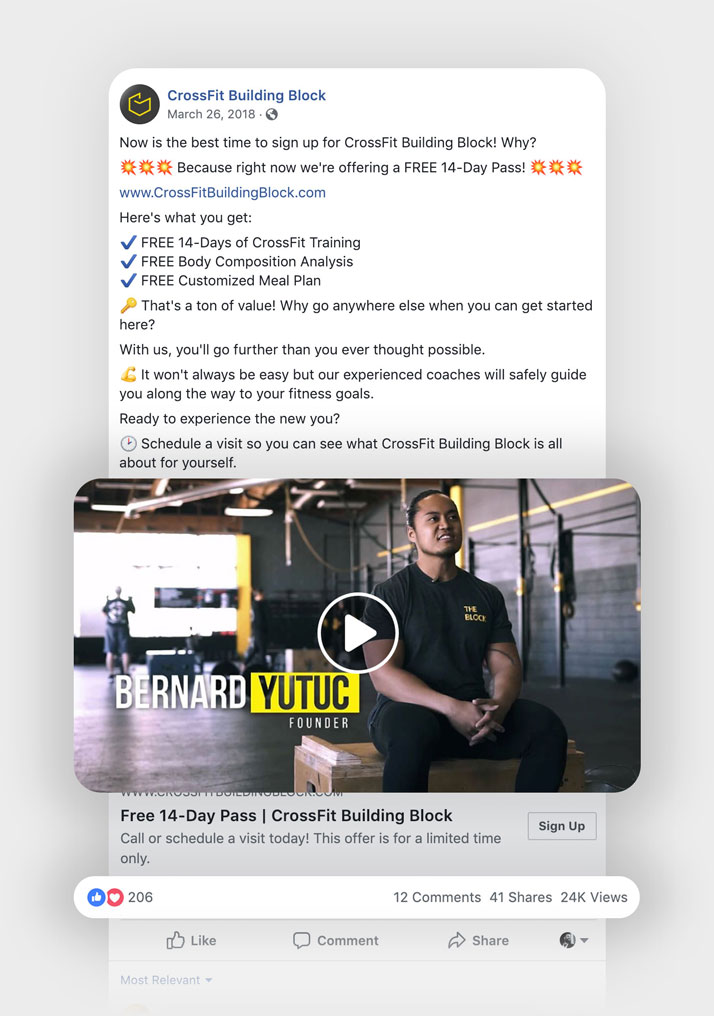 A graphic highlighting the success of the Facebook ad campaign for CrossFit Building Block.