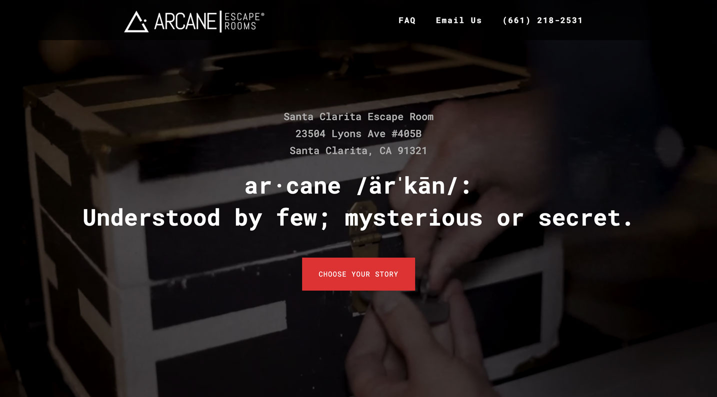 Screenshot of the landing page from the Arcane Escape Rooms website redesign.