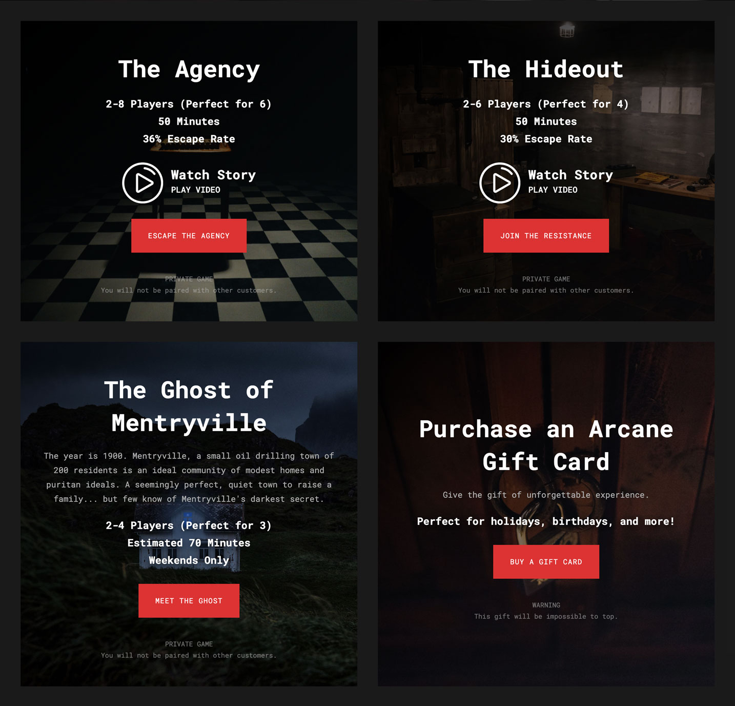 Screenshot of the room selection page from the Arcane Escape Rooms website redesign.
