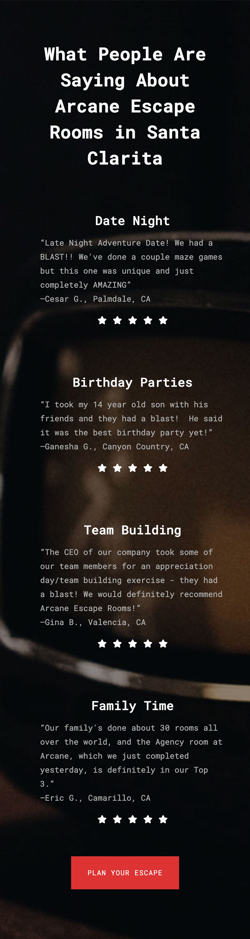 Screenshot of the testimonials page from the Arcane Escape Rooms website redesign.