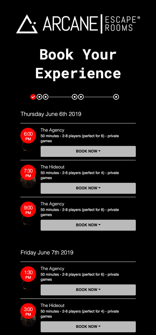 Screenshot of the booking system for Arcane Escape Rooms' new customer onboarding experience.