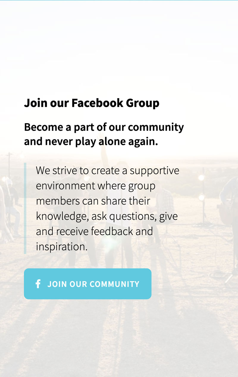 Screenshot of an invitation to join Metronome Online's Facebook group from the new website design.