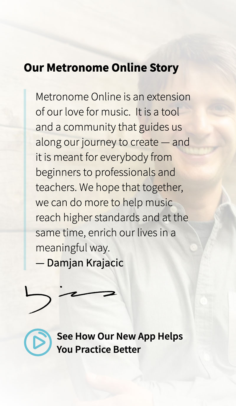 Screenshot of the video introduction by the founder of Metronome Online from the new website design.