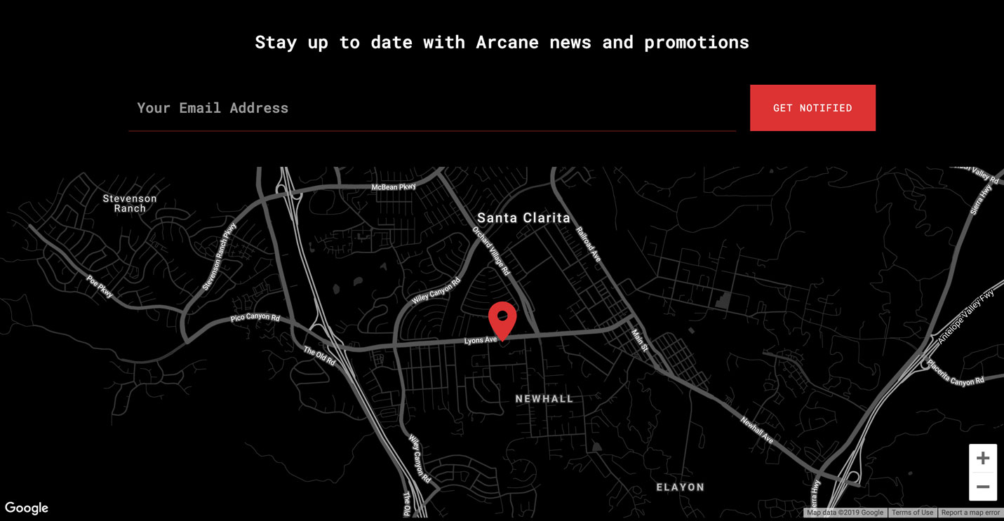 Screenshot of the newsletter signup and Google map from the Arcane Escape Rooms website redesign.