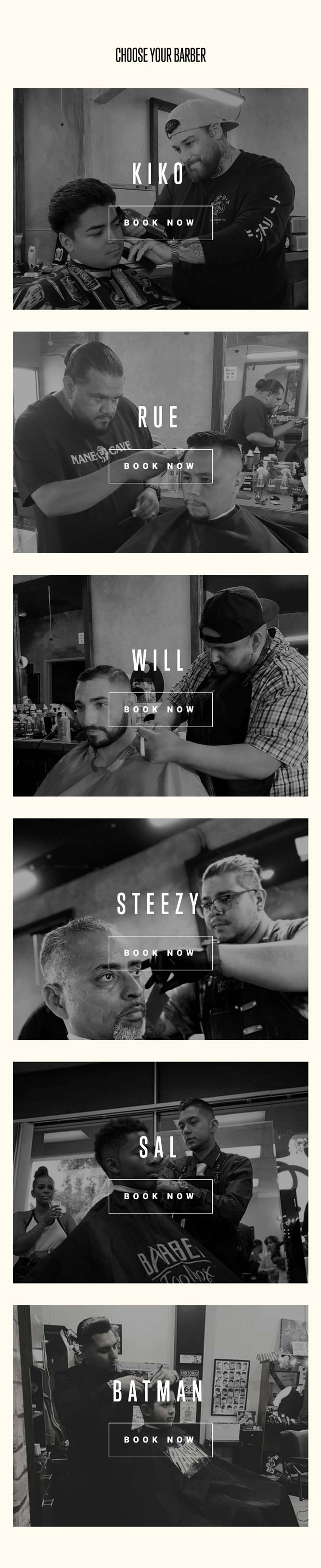 Screenshot of the barber selection screen on Mane Cave Barbershop's new website.