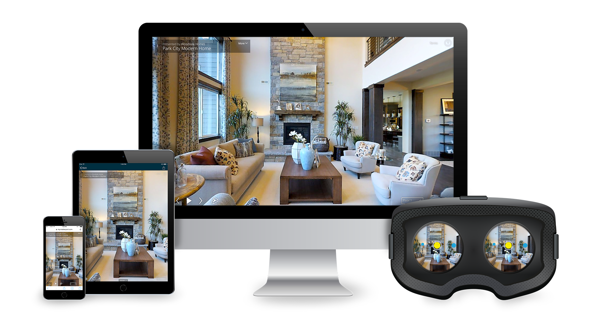 mac, ipad, iphone, VR goggles displaying matterport software example