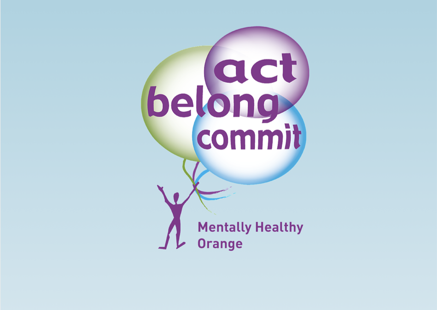 "Graphic showing a person holding three balloons. Text on the graphic says ""Act. Belong. Commit."""