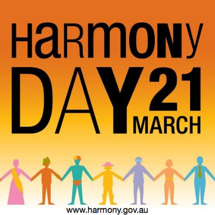"Graphic showing paper cut out people holding hands. Text on the image says ""Harmony Day, 21 March"""